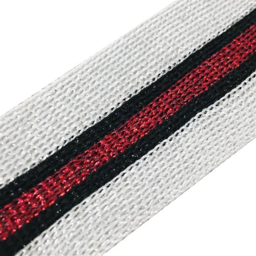 Лампасы №83 серебро красный люрекс 3,5 см 1 метр фото 1