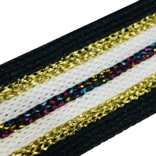 Лампасы №73 черные белые золото и цветной люрекс 2см 1 метр фото 1
