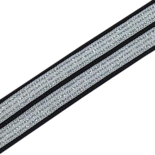 Лампасы №51 черно белые полосы серебро 2 см 1 метр фото 1