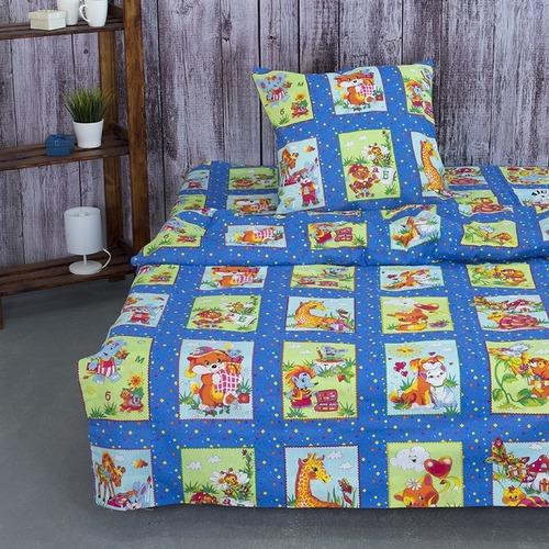 Детское постельное белье из бязи 1.5 сп 8088/1 Веселые картинки синий фото 1