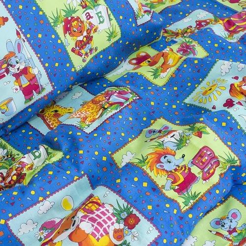 Детское постельное белье из бязи 1.5 сп 8088/1 Веселые картинки синий фото 2