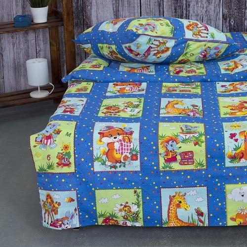 Детское постельное белье из бязи 1.5 сп 8088/1 Веселые картинки синий фото 3