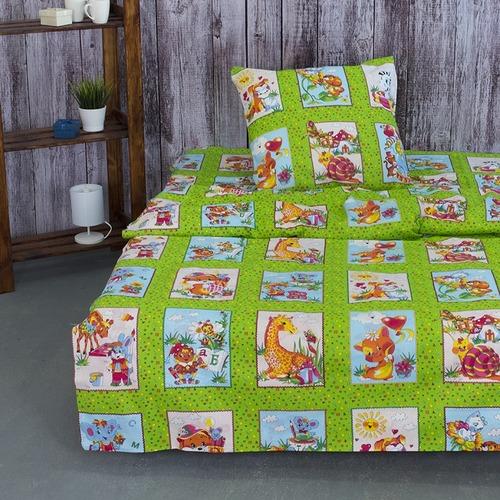 Детское постельное белье из бязи 1.5 сп 8088/2 Веселые картинки зеленый фото 1
