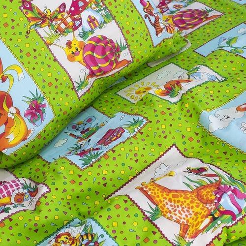 Детское постельное белье из бязи 1.5 сп 8088/2 Веселые картинки зеленый фото 4