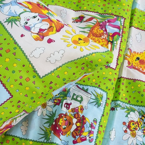 Детское постельное белье из бязи 1.5 сп 8088/2 Веселые картинки зеленый фото 5
