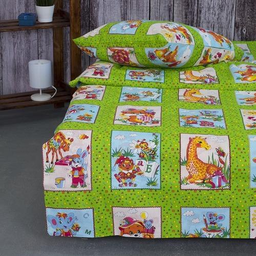 Детское постельное белье из бязи 1.5 сп 8088/2 Веселые картинки зеленый фото 3