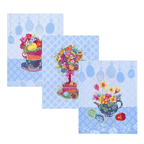 Набор вафельных полотенец 3 шт 45/60 см 3020-1 Пасхальное дерево цвет голубой фото 1