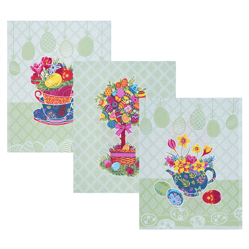 Набор вафельных полотенец 3 шт 45/60 см 3020-2 Пасхальное дерево цвет зеленый фото 1