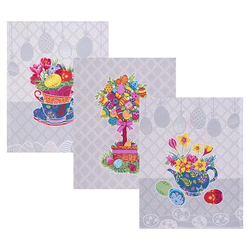 Набор вафельных полотенец 3 шт 45/60 см 3020-3 Пасхальное дерево цвет бежевый фото 1
