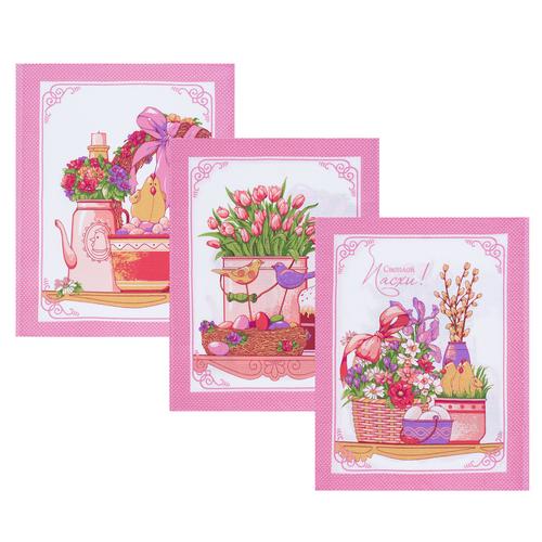 Набор вафельных полотенец 3 шт 45/60 см 3021-2 Светлая пасха цвет розовый фото 1