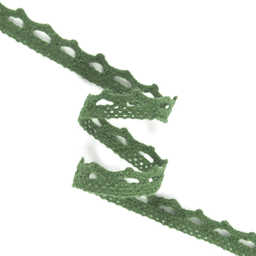 Кружево лен DX1017 зелень 1,2см 1метр фото 1