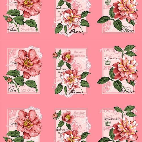 Вафельное полотно набивное 150 см 0098/5 Пионы цвет розовый фото 1