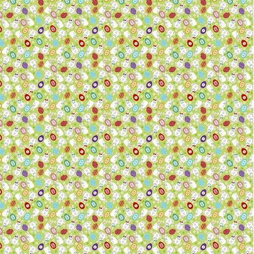 Вафельное полотно набивное 150 см 1263/1 Пасхальный кролик на зеленом фоне фото 1