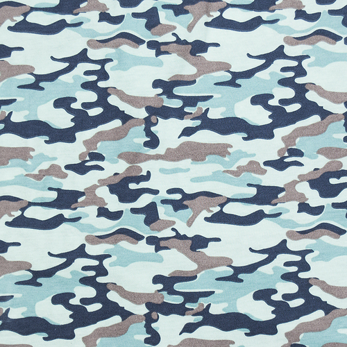 Ткань на отрез кулирка карде Камуфляж В голубой R163 фото 1