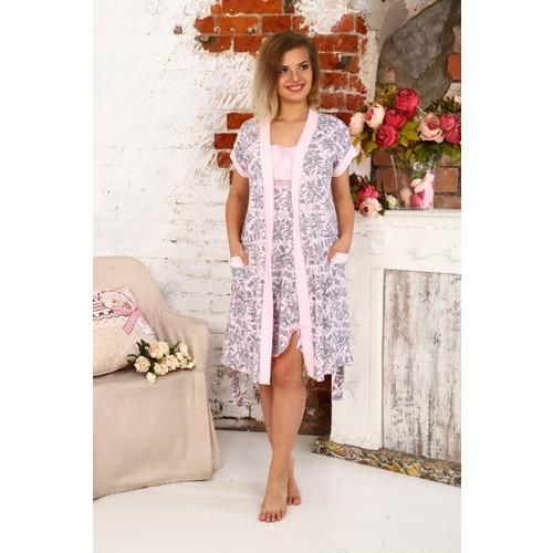 Комплект халат Кимоно и сорочка Царица узоры на розовом А20 р 46 фото 1