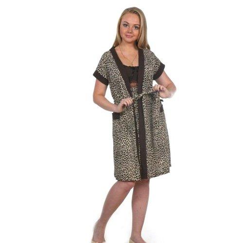 Комплект халат Кимоно и сорочка Царица леопард А20 р 52 фото 1