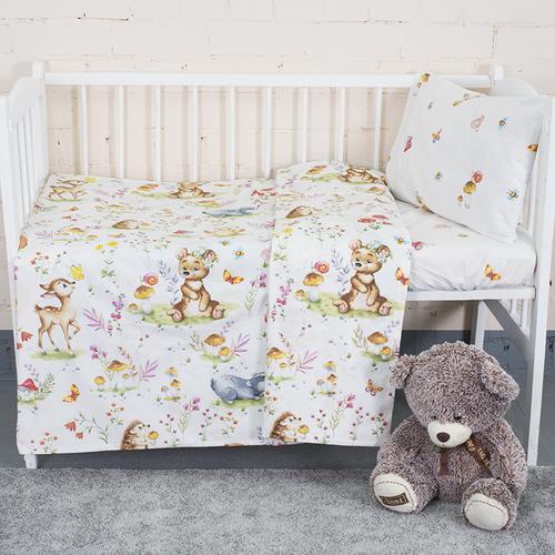 Постельное белье в детскую кроватку из поплина 11438/1 Лесные друзья с простыней на резинке фото 3