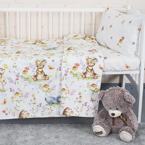 Постельное белье в детскую кроватку из поплина 11438/1 Лесные друзья с простыней на резинке фото 1