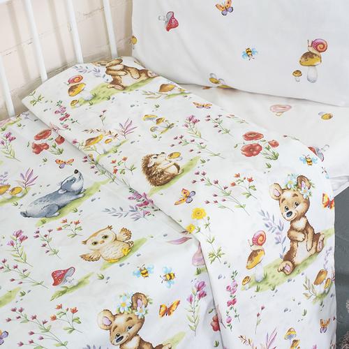 Постельное белье в детскую кроватку из поплина 11438/1 Лесные друзья с простыней на резинке фото 2