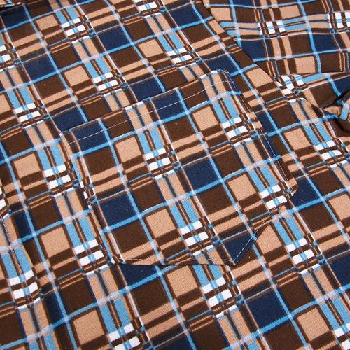 Рубашка мужская фланель клетка 52-54 цвет коричневый модель 2 фото 3