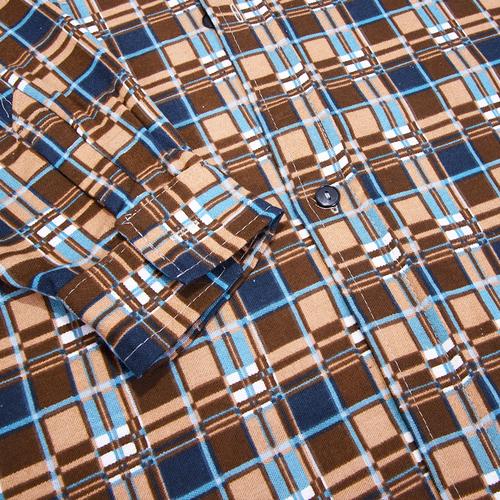Рубашка мужская фланель клетка 52-54 цвет коричневый модель 2 фото 2