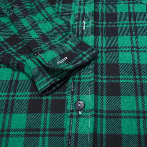 Рубашка мужская фланель клетка 48-50 цвет зеленый фото 2