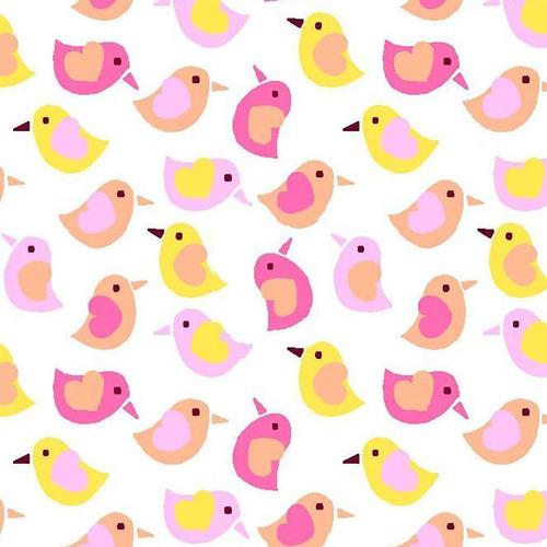 Ткань на отрез фланель 90 см 95033 Птички цвет розовый фото 1