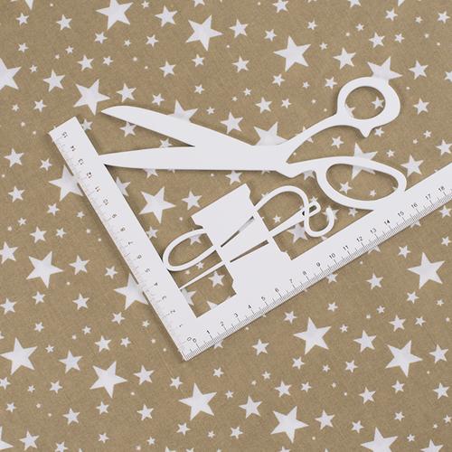 Ткань на отрез поплин 150 см 433/28 Звездочка цвет золото фото 2