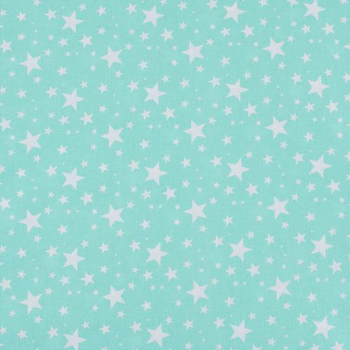 Ткань на отрез поплин 150 см 433/16 Звездочка цвет мята фото 1