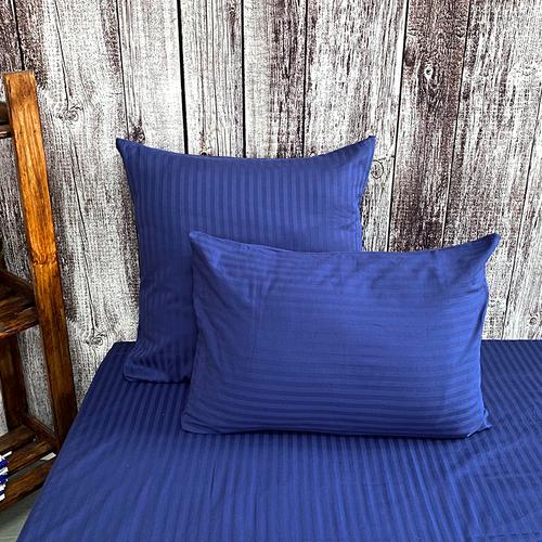 Наволочка страйп-сатин полоса 1х1 120 гр/м2 191/2 цвет синий в упаковке 2 шт 70/70 фото 1