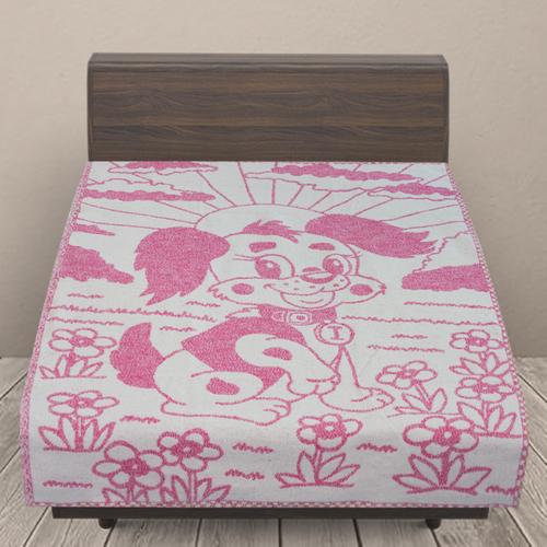 Одеяло детское байковое жаккардовое 100/140 см щенки цвет розовый фото 1