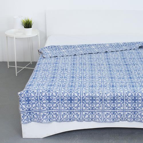 Одеяло байковое жаккардовое 200/235 цвет кельт синий фото 1