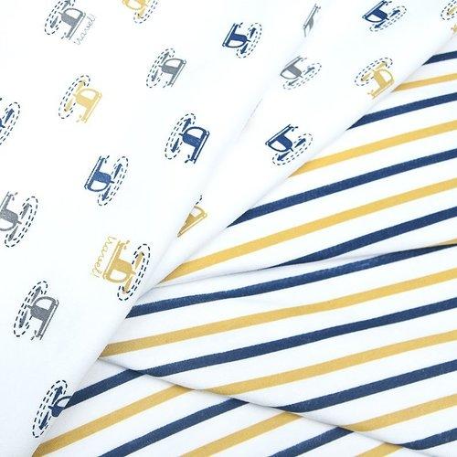 Ткань на отрез интерлок пенье Двухцветная полоска 58-18 фото 3