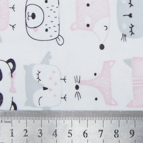 Ткань на отрез интерлок пенье Зверята розовые 5701-17 фото 4