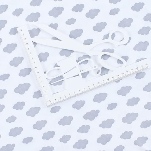 Ткань на отрез интерлок пенье Облака серые 5745-17 фото 2