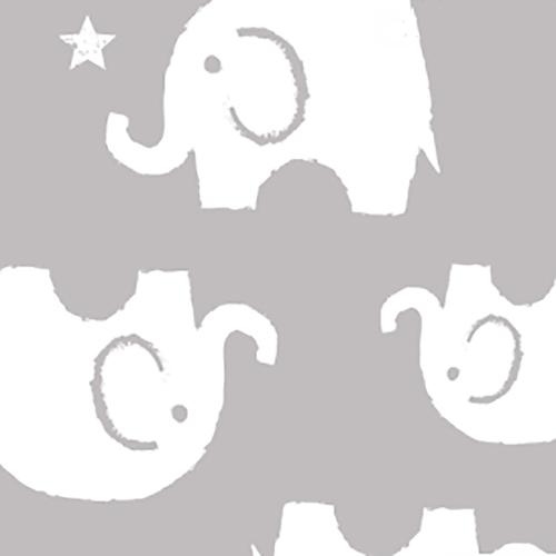 Ткань на отрез интерлок пенье Слоники серые 28-18 фото 1