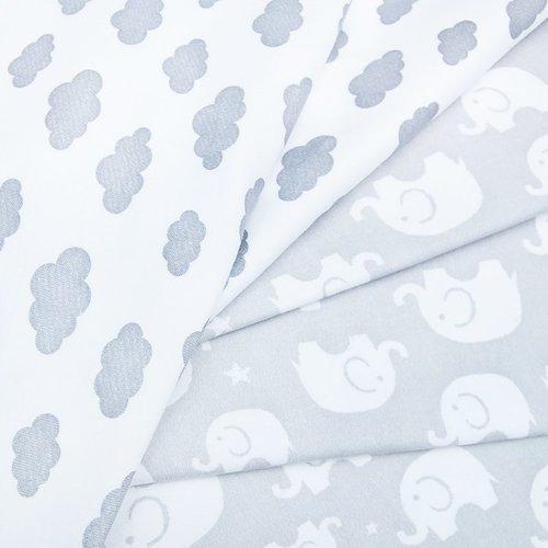 Ткань на отрез интерлок пенье Слоники серые 28-18 фото 2