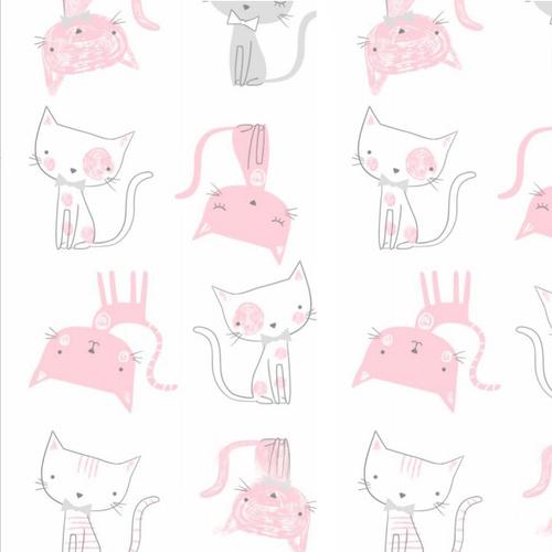 Ткань на отрез интерлок пенье Кошки розовые 5736-17 фото 1