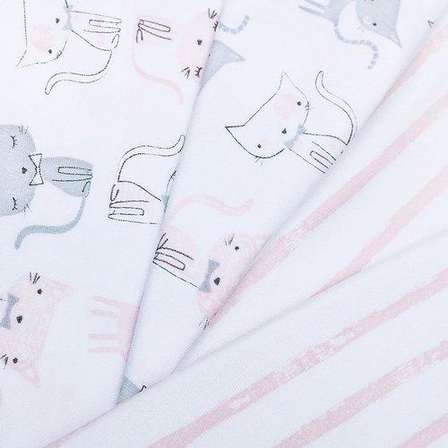 Ткань на отрез интерлок пенье Кошки розовые 5736-17 фото 2