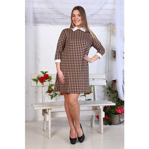 Платье Диана рукав 3/4 интерлок гус. лапки на коричневом Д445 р 54 фото 1
