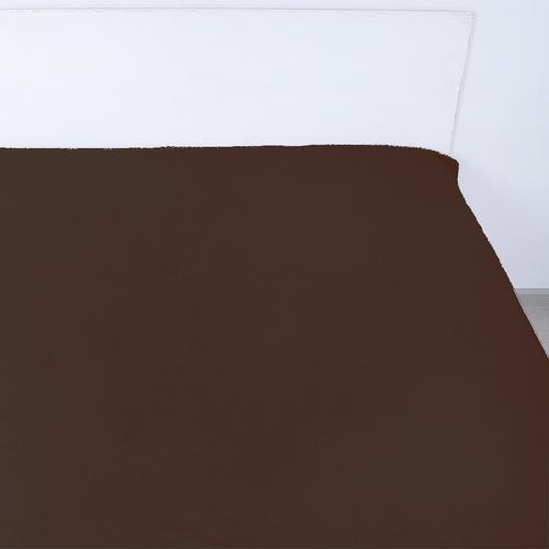 Простынь на резинке поплин цвет мокко 180/200/20 см фото 1