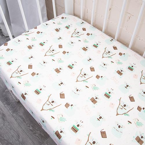 Простыня на резинке бязь детская 7245/1 Коалы 90/180/15 см фото 2