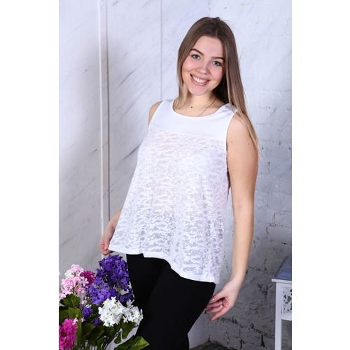 Блузка Майка облегченная Белая В252 р 56 фото 1